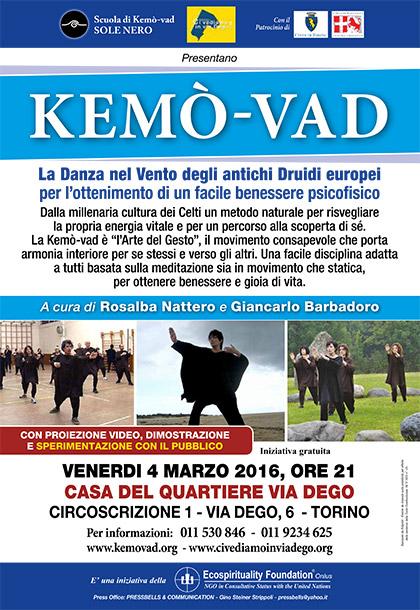 VENERDI 4 MARZO 2016 presentazione della KEMÒ-VAD alla CASA DEL QUARTIERE VIA DEGO